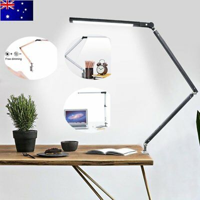 LED Dimmable Reading Light Desk Lamp Foldable Clip-on Flex Arm Eye Care Black AU