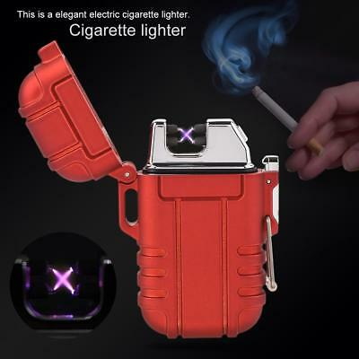 Electronic USB Lighter Flameless Double Arc Plasma Windproof Waterproof Red