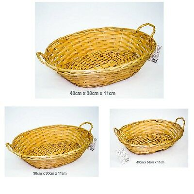 2 X Willow Basket Oval with Handle Cane Basket Natural Colour Storage