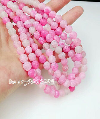 diy 8mm Round Natural Stone Loose Gemstone Beads Pink Efflorescent Agate