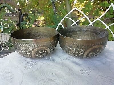 Pair of Antique Indian Hand Engraved Brass Bowls Pots Circa 1900  Lions Jungle