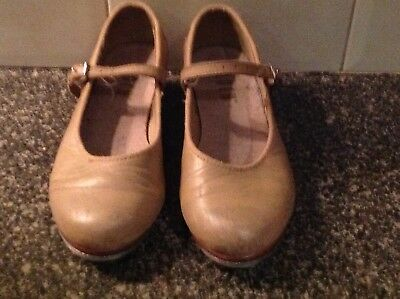 "GUC - BLOCH ""Tap On"" girls tan tap shoes (size 4) RRP $65.95 - 75%"