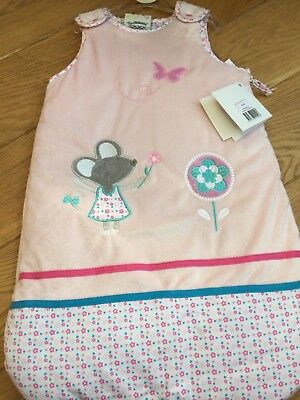 Baby girl sleeping bag newborn to 6 months, 2 tog, pink, mouse, 🌹 🦋 detail