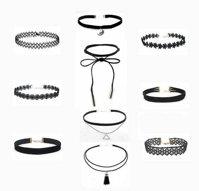 10 Pcs set Women Black Rope Choker Necklace Stretch Gothic Lace Halloween/Party