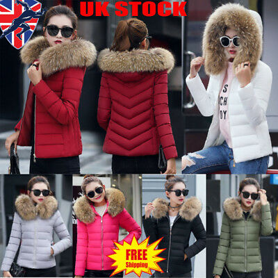 UK Womens Ladies Quilted Padded Bubble Fur Hooded Thick Warm Puffer Coat Jacket