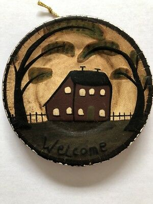 "Ragon House Welcome Primitive pottery plate  4"" Country Decor - House Design"