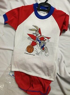 Vtg 80s 1980 Warner Bros BUGS BUNNY basketball cotton clothing set NOS New! NWT