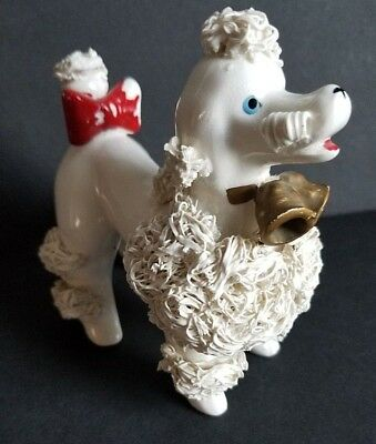 Lefton Spaghetti Poodle Dog Figurine with Bells and Bow 1GX2265 Vintage Xmas