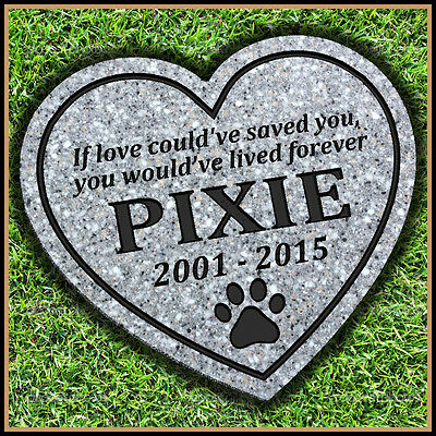 "Pet Memorial Grave Marker 11"" x 12"" Heart Shaped Headstone Dog Cat Gravestone"