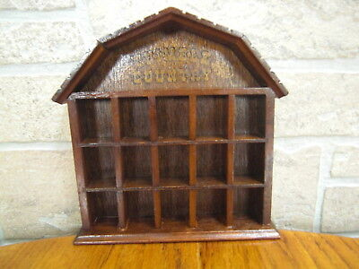 Vintage 1979 Wooden Wall or Shelf 15 Thimble Country Display By Enesco NC