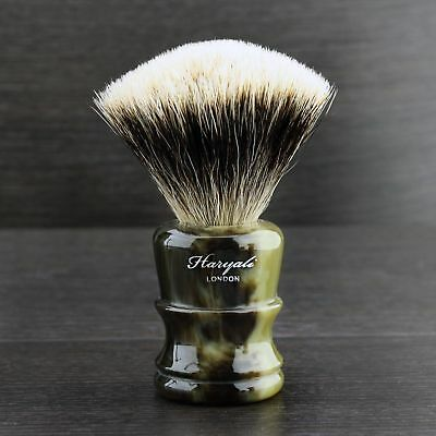 Silver Tip Badger Shaving Brush Horn Resin Handle Haryali London Top Selection.