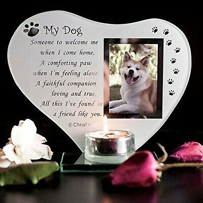 Special Dog Glass Memorial Plaque Grave Ornament with Poem candle photo holder f
