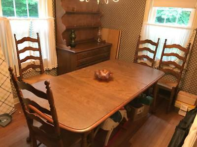 Temple Stuart Pioneer Treasury Maple Dining Room Set Hutch Cabinet Table Chairs