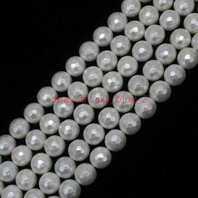 AAA 8/10/12/14mm Faceted White Shell Pearl Round Loose Beads 15""