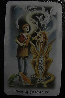 Page of Pentacles Celtic Dragon Tarot Single Replacement Card Excellent