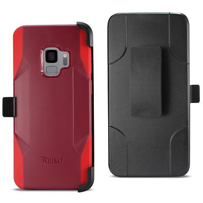 Reiko Samsung Galaxy S9 3-In-1 Hybrid Heavy Duty Holster Combo Case In Burgundy