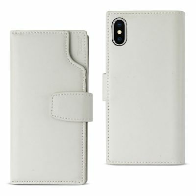 Reiko iPhone X Genuine Leather Wallet Case With Open Thumb Cut In Ivory