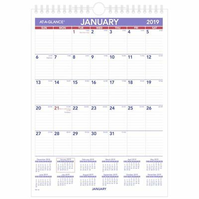 """AT-A-GLANCE® Mini Monthly Wall Calendar, 8"""" x 11"""", January to December 2019"""