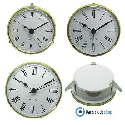 Quartz Gold Bezel Clock Inserts Roman Numbers Metal Clip Fit Shontek - DM-6001