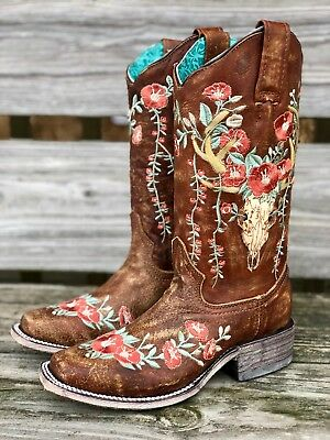 b80b2969be5 CORRAL WOMEN'S DEER Skull & Embroidery Distressed Tan Square Toe Boots A3708
