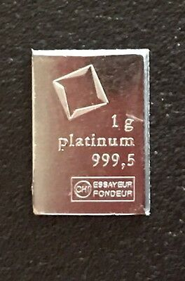 New 1 Gram Valcambi Suisse Platinum Bar .9995 Pure. Free Shipping