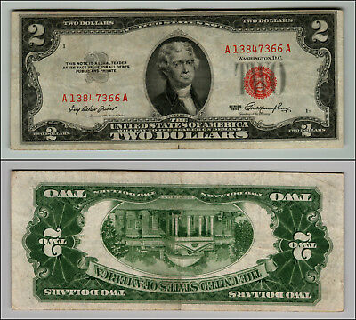 1- 1953 Series $2 Dollar Bill Red Seal United States Currency LOT Z912