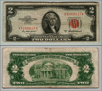 1953A $2 Dollar Bill Old Us Note Legal Tender Paper Money Currency Red Seal Q834