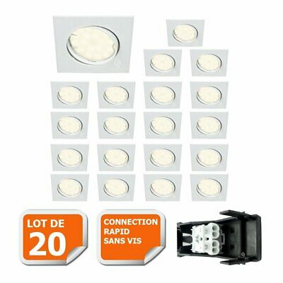 LOT DE 20 SPOT ENCASTRABLE ORIENTABLE LED CARRE GU10 230V eq. 50W BLANC NEUTRE
