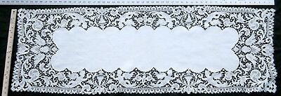 """Antique Italy needle lace runner 14"""" x 53"""""""