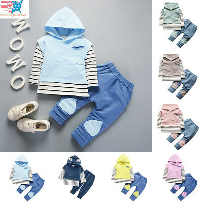 Toddler Kids Baby Boys Girls Outfits Hooded Stripe Shirt Tops + Pants Outfits US