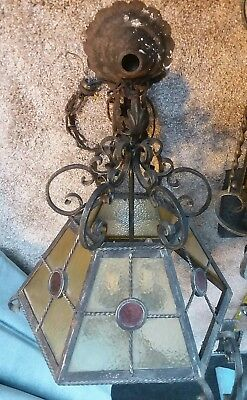 Gothic Spanish Revival Chandelier Pendant With Stained Glass - from Old Church