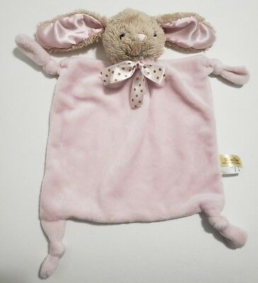 Dan Dee Plush Bunny Security Blanket Rattle Knotted Corners Baby Lovey Toy Pink