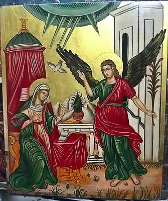 """""""The Annunciation""""Greek Orthodox portable hand-painted byzantine icons"""