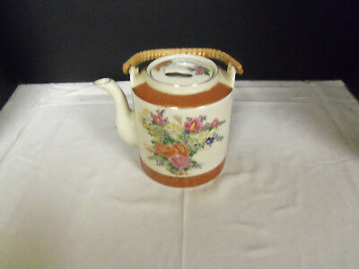 VINTAGE HAND PAINTED JAPAN FLORAL PATTERN TEAPOT w/BAMBOO HANDLE