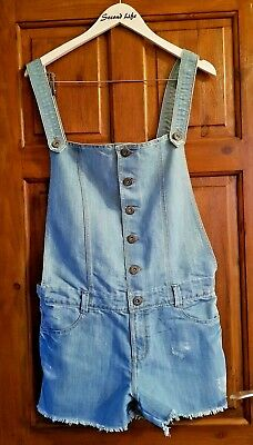 Girls 12 years Light Wash Button Up Denim Summer Shorts Overalls Dungarees