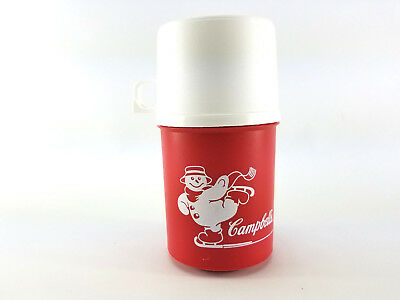 Vintage Alladinware Campbell's Soup Skating Snowman Thermos With Cup