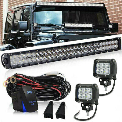 32inch LED Light Bar Curved + 4inch Cube Work Lights For Off road Truck Jeep SUV