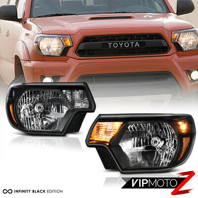 2012 2013 2014 2015 Toyota Tacoma [TRD STYLE] Black Headlights Complete Assembly