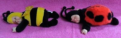"Unimax Anne Geddes Bumble Bee & Ladybug Baby Plush Doll 9"" Lot of 2 1997"