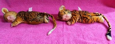 "Unimax Anne Geddes Tiger & Leopard Sleeping Baby Plush Doll 9"" Lot of 2 2000"