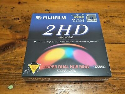 "New Sealed Fujifilm 5.25"" Floppy Disks x 10 MD2HD 256 Double Sided High Density"