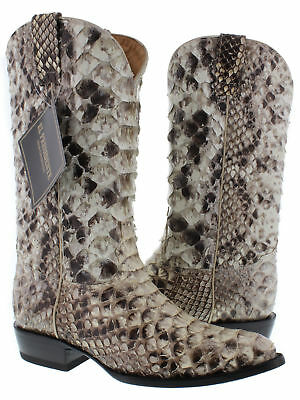 Mens Full Python Snake Skin Exotic Leather Western Cowboy Boots Natural Tone