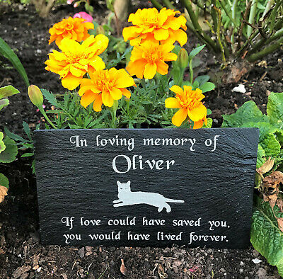 Personalised Engraved Pet Memorial Slate Stone Grave Marker Plaque for a Cat