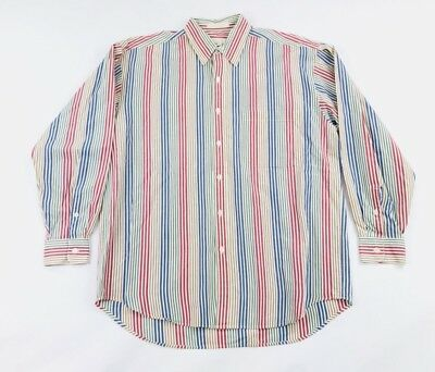 Vintage Perry Ellis Men s M Button Up Shirt Vertical Stripe Primary Color  Block 93ce0e7d5