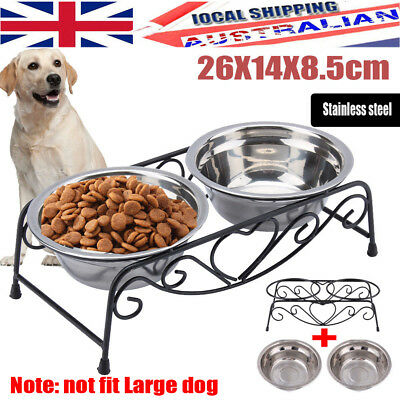 Dual Elevated Lift Pet Dog Feeder Bowl Stainless Food Water Stand AU Shipping