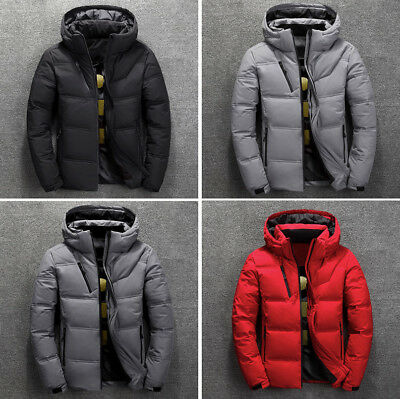 Stylish Men's Duck Down Coat Thick Hooded Cotton Ski Jacket Snow Parka Outwear