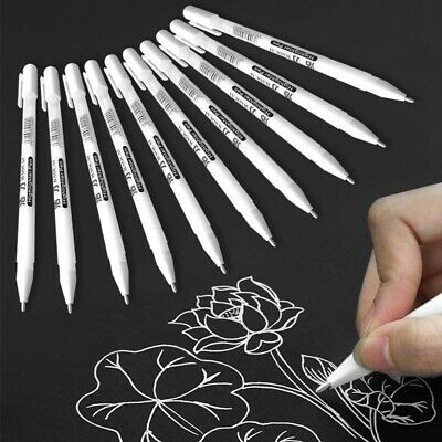 1/5/10Pcs White Gel Ink Marker Pen Drawing Painting Highlight Craft Art Gifts