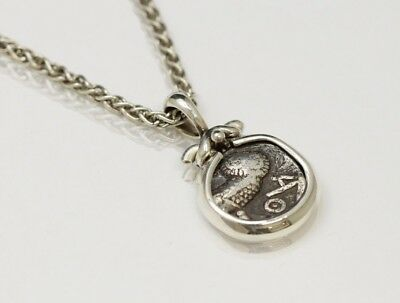 Sterling Silver Necklace with Genuine Ancient Coin, Arabian Owl. w/Cert - 078