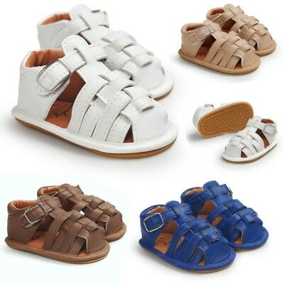 Newborn Baby Boys Girls Summer PU Leather Sandal Prewalker Soft Sole Crib Shoes