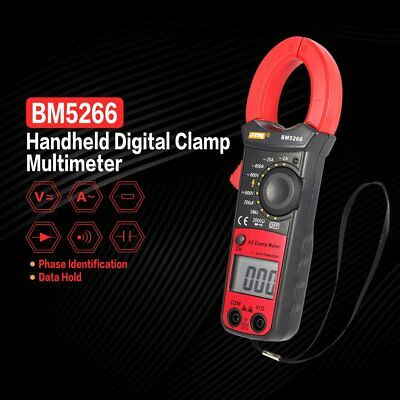 BM5266 Digital Clamp Meter Multimeter AC/DC Volt Amp Ohm Phase Diode Tester NP